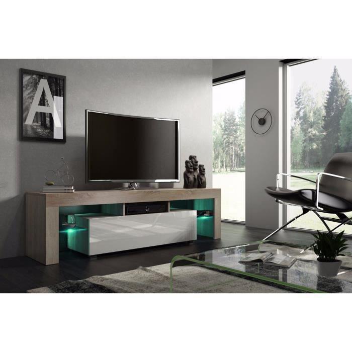 Meuble tv 160 cm chªne MDF et Blanc laqué avec led Achat Vente