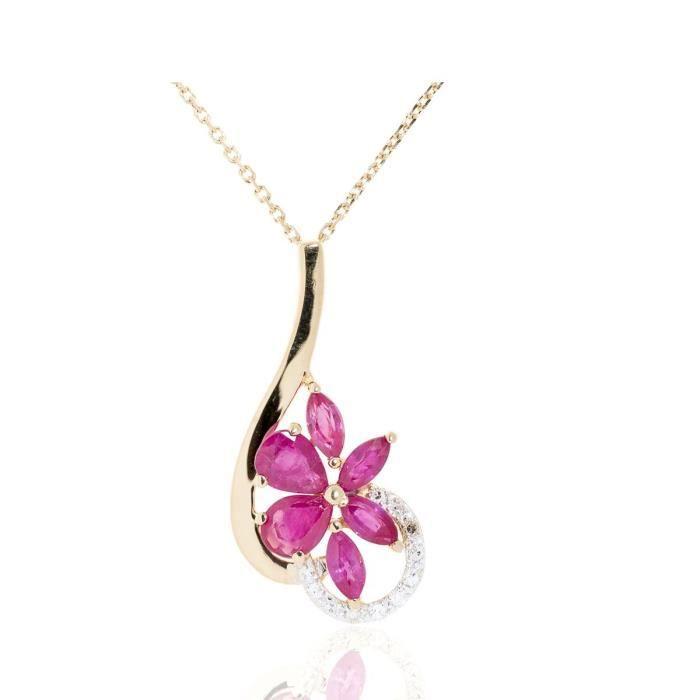 Collier En Or Avec Pendentif Fleur Serti De Diamants Et Rubis