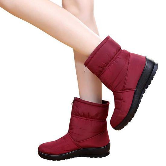 Mesdames Neige Martin De Short Hiver La Chaussures Imperméables Rouge Femme Bottes Chaudes TnaBrTY