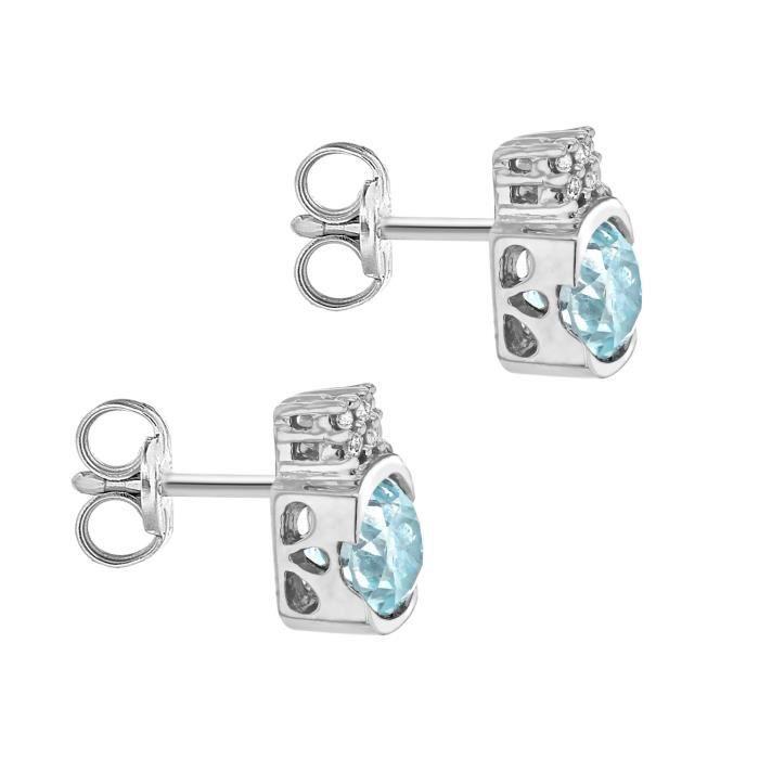 Boucles Doreille - Femme - Or Blanc (9 Cts) 1.5 Gr - Diamant - Topaze K25Z1
