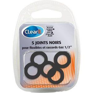 Paquet de 5 joints noirs pour flexibles et raccords gaz 1/2\