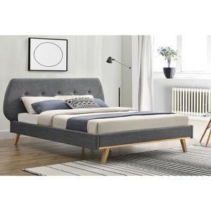 STRUCTURE DE LIT Le Torsten : Cadre de lit scandinave gris avec pie