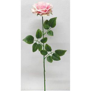 FLEUR ARTIFICIELLE Tige de Rose artificielle ouverte Rose - Hauteur 7