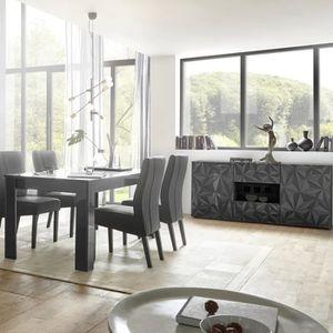 Ensemble salle à manger classique en bois massif coloris gris foncé ...