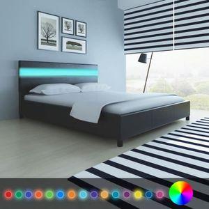 STRUCTURE DE LIT Lit en cuir artificiel noir cadres de lit Contempo