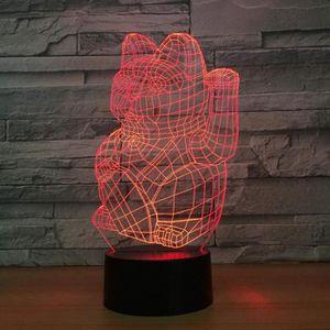 LAMPE A POSER 3D Lampe Optique Illusion Veilleuse Chat Chanceux