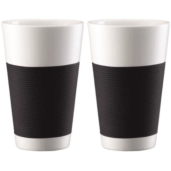 BODUM CANTEEN Set 2 tasses porcelaine double paroi 0,35L noir