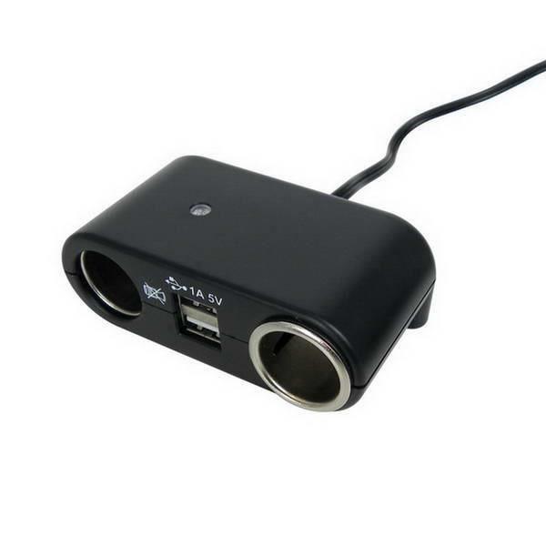 CARPONIT Prise allume-cigare Double avec 2 ports USB - 5Ah 12 V - Noir