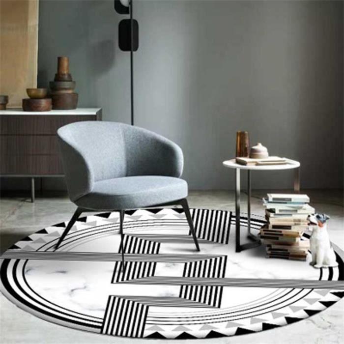 Rond Tapis de salon ou chambre Motif géométrique noir et blanc tapis simple  décoration chambre salon salle antidérapant mat 100cm