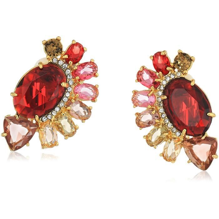 Carolee Victorian Empire Multi Stone Pave Button Clip-on Earring I7UD4