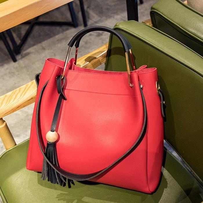 Sac à main sacs de mode Forfait de loisirs Femme Sacs Toutes les Saisons Polyuréthane Cabas pour Décontracté Sports Rouge844
