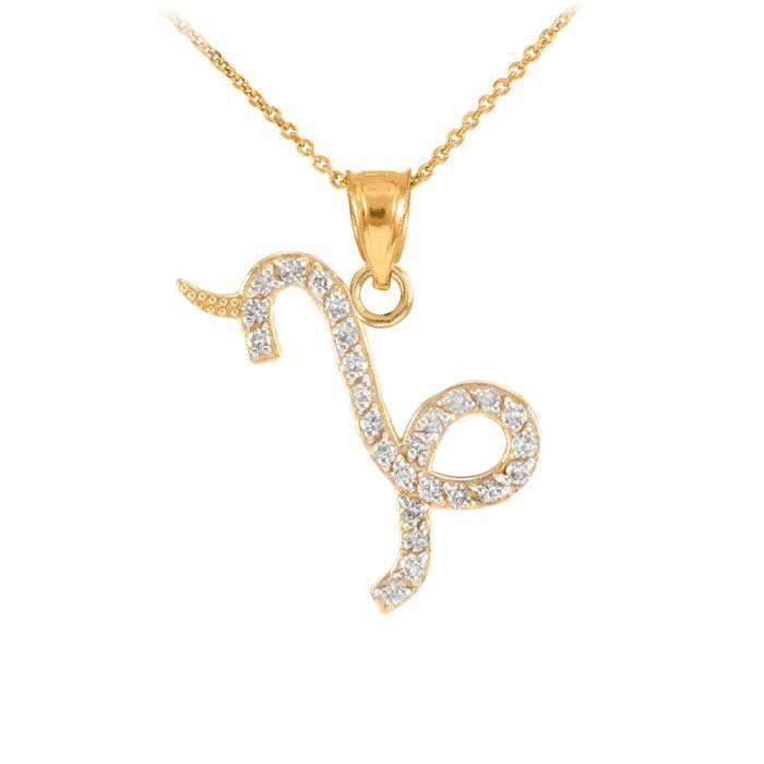 Collier Femme Pendentif 14 Ct Or Jaune Capicorn Zodiaque Signe Diamant (Livré avec une 45cm Chaîne)