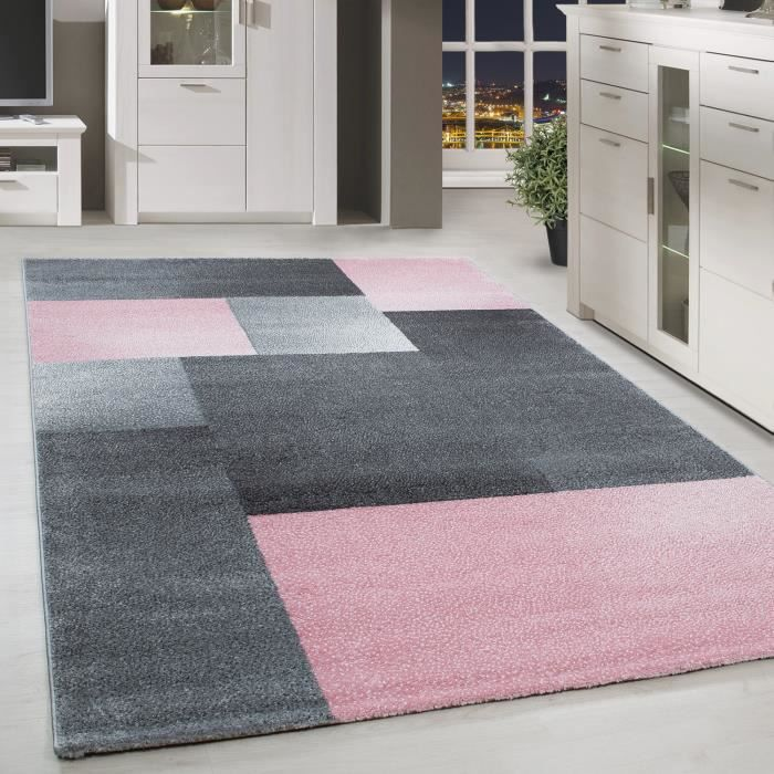 Tapis Design Contemporain Petit Salon à Carreaux à Damier Gris Rose Chiné  [160x230 Cm ]