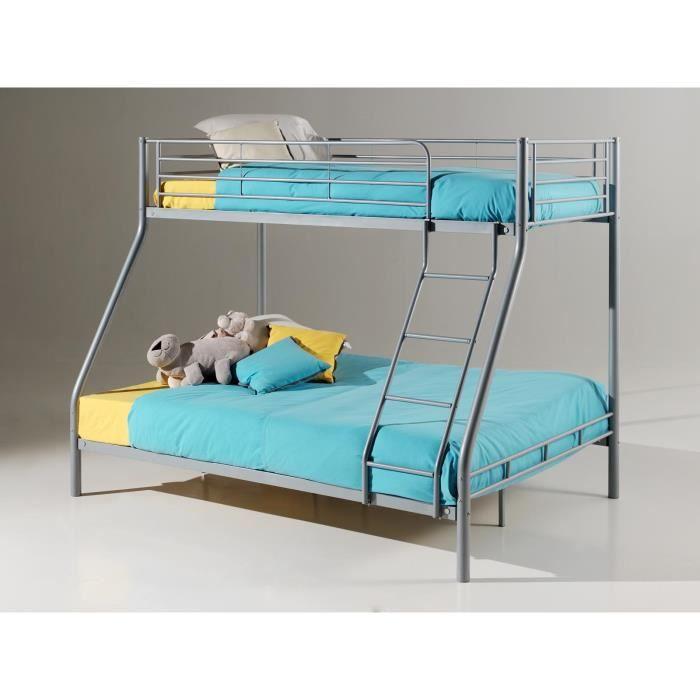 lit superpos 90x200 et 140x200 en m tal coloris gris achat vente lits superpos s lit. Black Bedroom Furniture Sets. Home Design Ideas
