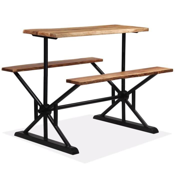 Table de bar en Bois avec Bancs pour Bar, Restaurant 120 x 50 x 107 cm