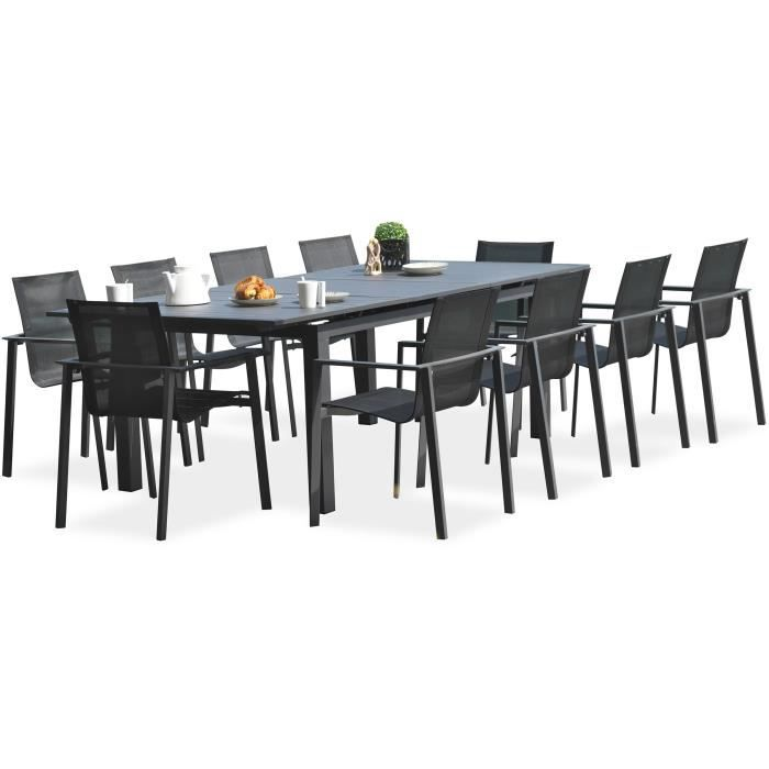 DCB GARDEN Table Miami en aluminium avec rallonge automatique - 240 ...