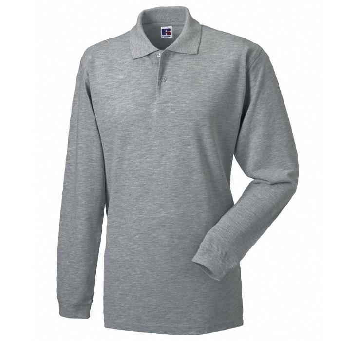 Russell Europe - Polo à manches longues - Homme (L) (Gris clair) CcDox