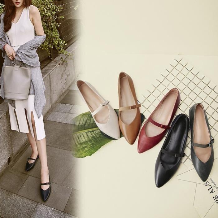 Femme cuir femmes Pointu Chaussures douce arc Flats Mocassins Glissement Women & # 39; s Chaussures plates,noir,35