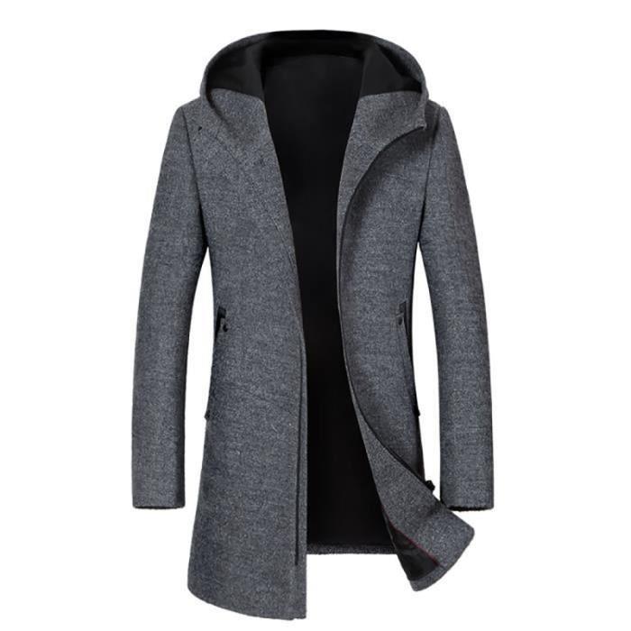 Manteau Laine À Capuche Longue Homme Marque Luxe Hiver Pour Hommes Slim Fit Zipper