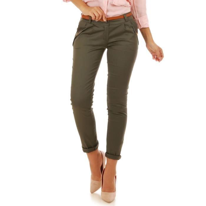Kaki S Achat Vert Pantalon Ceinture Avec Vente Camel vmNn8w0