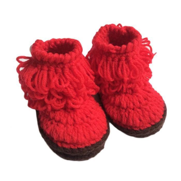rouge Crochet Bottes Hautes Haut En Chaussures Bb Main La top Tricot Fille 7HqHw45P
