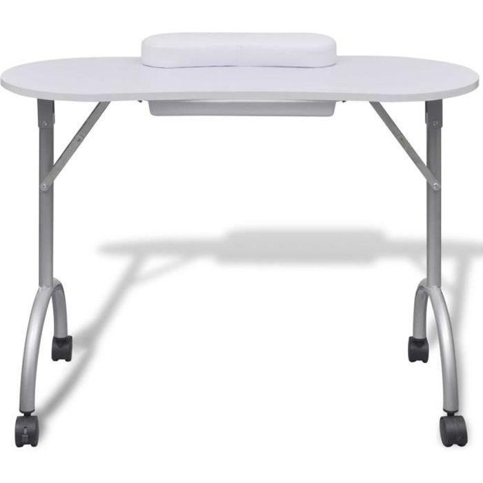 Table Avec Roulettes Blanche De Console Manucure Pliante clK1FTJ