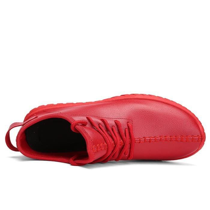chaussures multisport Mixte Lovers mocassins sport loisir étudiants en cuir d'été rouge taille5.5