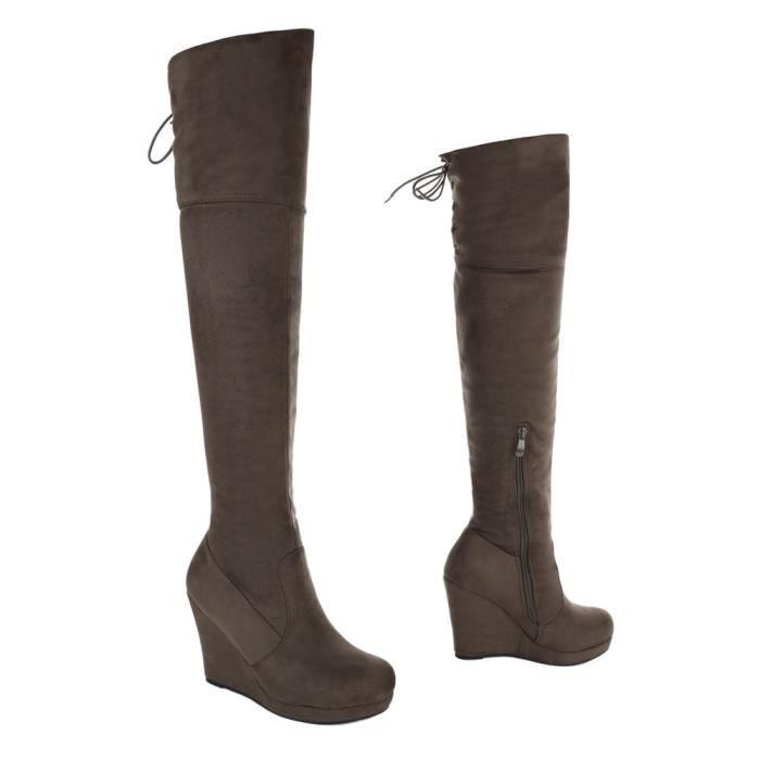 Chaussures femme bottes Talon compensé Plateau Overknee Olive 41