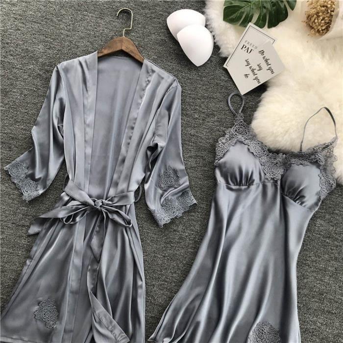 Babydoll Gris Lingerie Nuit Femmes Dentelle Set Kimono Chemise Soie De Robe HxfA1vxan