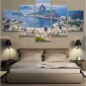 TABLEAU - TOILE Toiles imprimées 5 pieces Brésil Rio de Janeiro im