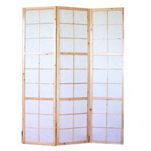 PARAVENT Paravent 3 panneaux pans en bois naturel et papier