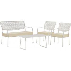 Ensemble 4 places canapé fauteuil (x2) table fer forge blanc avec ...