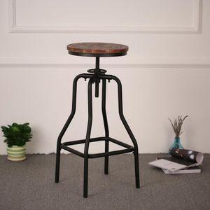 CHAISE Style industriel chaise ajustable de bar, pin natu