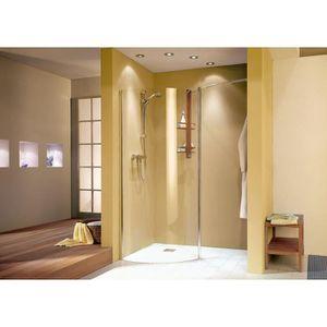 paroi de douche fixe l 39 italienne arrondie 88 5 x 200 cm walk in libert verre transparent. Black Bedroom Furniture Sets. Home Design Ideas