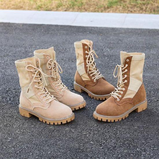 Femmes automne hiver bottes talon plat chaussures épaisses bottes en dentelle XYM70801903 Beige Beige - Achat / Vente botte