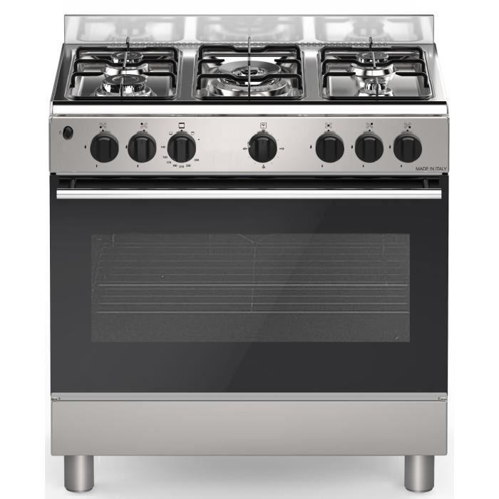 BOMPANI BOMFE85IX - Cuisinière table gaz-5 foyers-Four électrique Catalyse 74L L 80 x H 84 cm-Inox