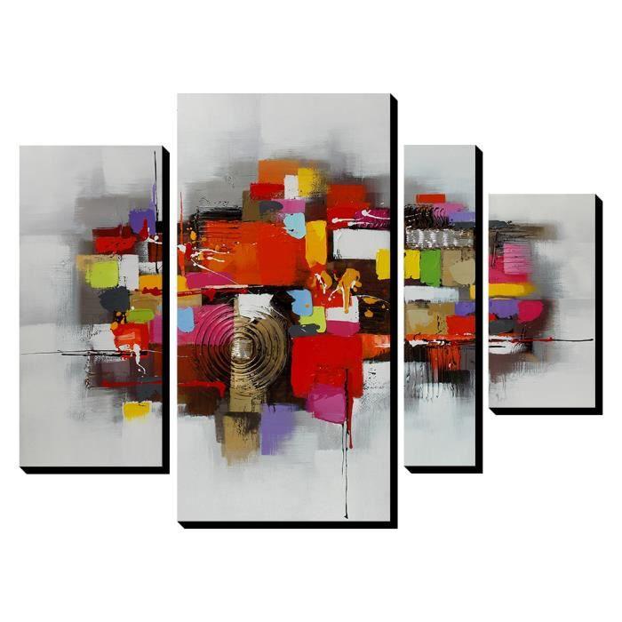 4pcs aonbat tableaux de peinture l 39 huile toile peint la main abstrait multicolore decoration. Black Bedroom Furniture Sets. Home Design Ideas