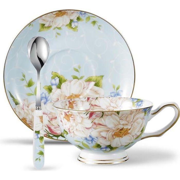 Panbado Service à Café Thé Anglais Tasse 200ml en Porcelaine à la ...