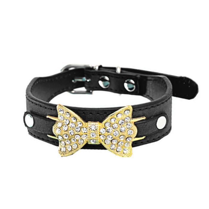Chien Chiot Collier Chat En Cuir Bling Crystal Bow Bk - M Reservece 128
