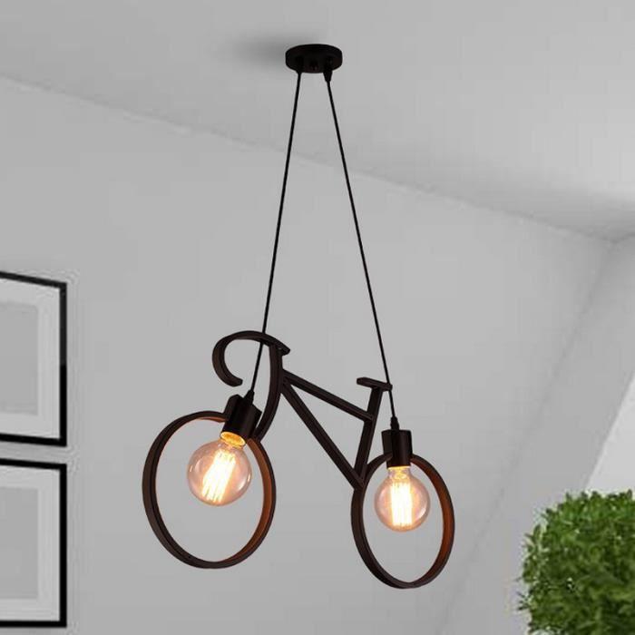 Lustre en fer forgé en forme de bicyclette de style moderne avec 2 ...