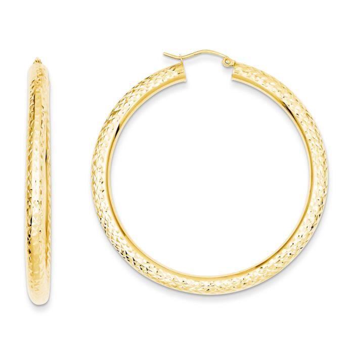 14 carats-Diamant - 4 mm-Coupe-Boucles doreilles