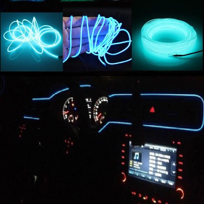 5M EL Wire Fil Neon LED Cable Guirlande Lumineuses