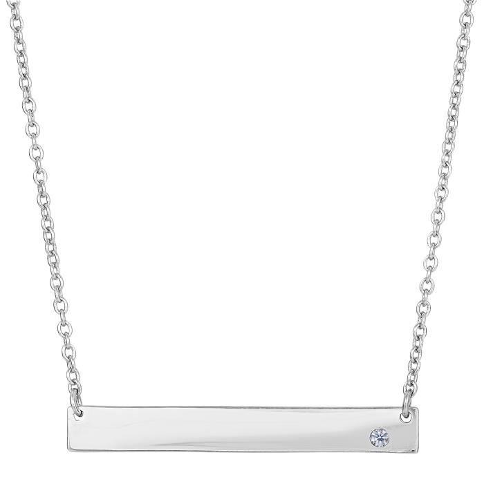 Collier-en argent sterling côté Bar Engravable pendentif CZ, 18