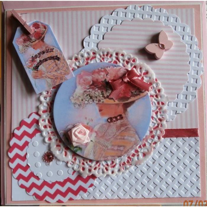 Carte Anniversaire Romantique.Carte Anniversaire Porte Billet Femme Romantique Chapeau Rose A La