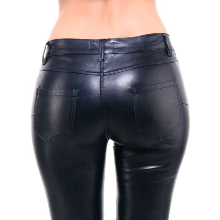 pantalon cuir simili femme jeans skinny slim push up noir stretch taille m 38 noir noir achat. Black Bedroom Furniture Sets. Home Design Ideas