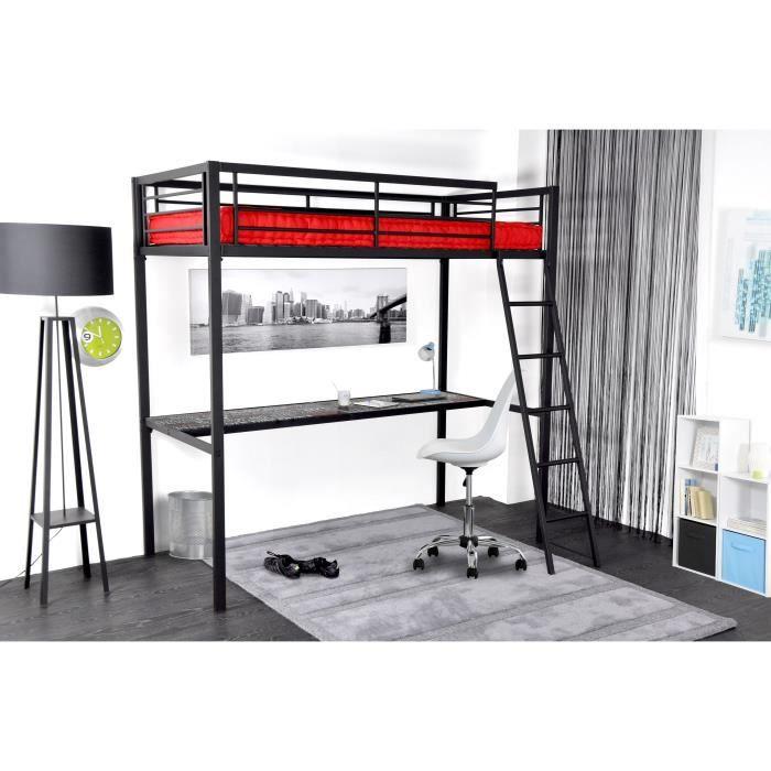 grafik lit mezzanine adulte avec sommier bureau style. Black Bedroom Furniture Sets. Home Design Ideas