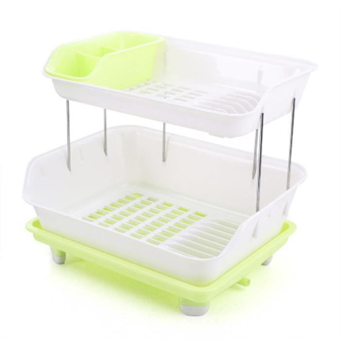 Egouttoir Vaisselle En Plastique 2 Etages Pliable Grande Taille