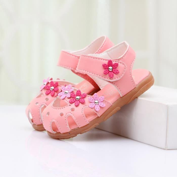 Napoulen®bébé filles berceau chaussures Soft semelle anti-dérapant espadrilles fleur sandales ROSE-NYZ0926015 qHTpBx
