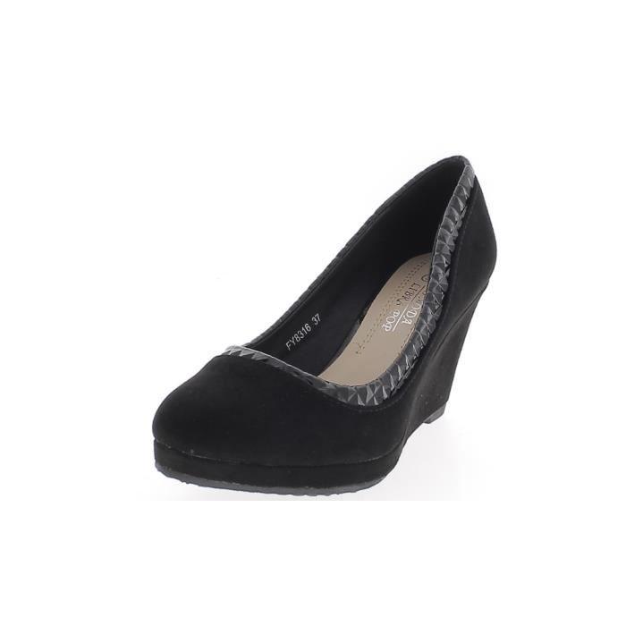 18351cbebd9e95 Chaussures femme compensées noires talon 7,5cm aspect daim et liseré verni