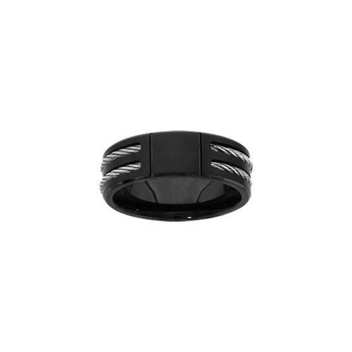Bague acier PVD noir double câbles gris - tour de